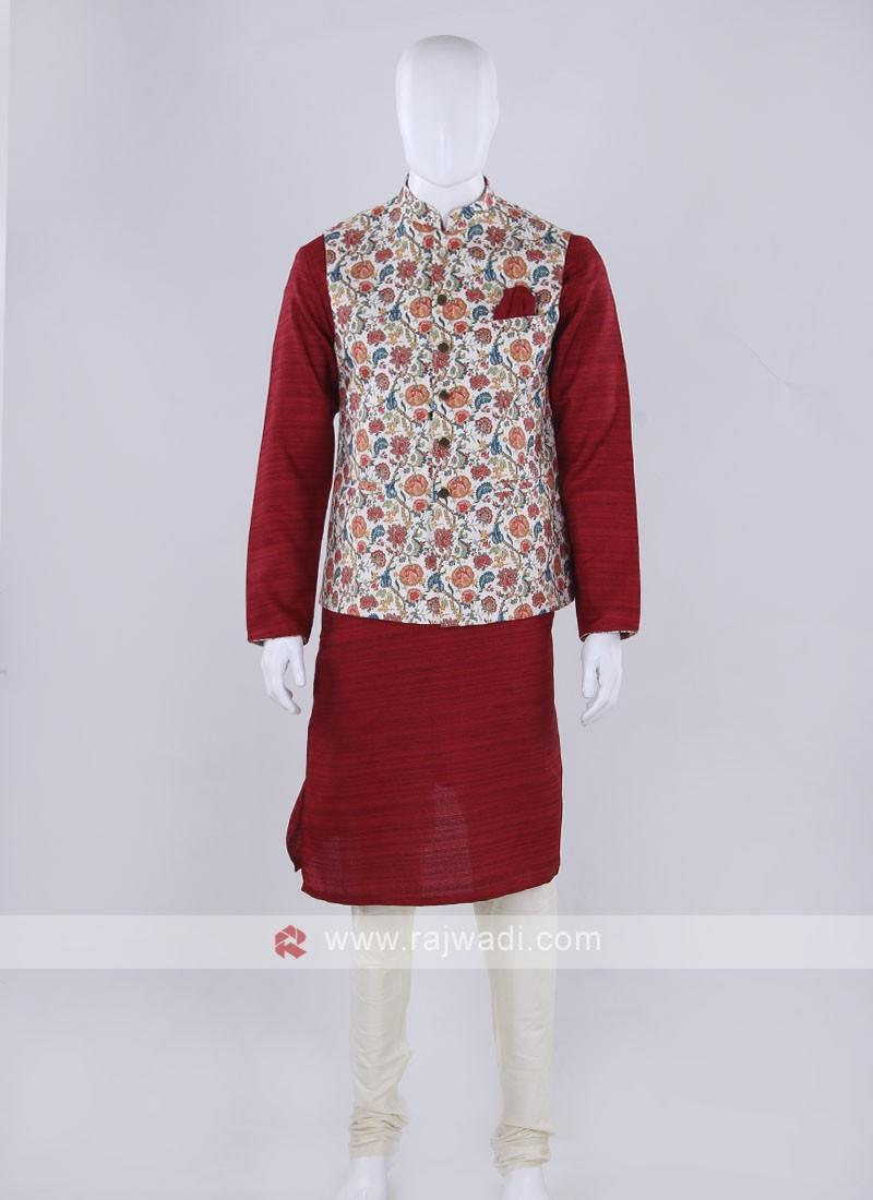 Off-white nehru jacket with kurti set