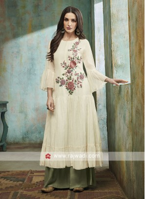 Off White Palazzo Suit with Dupatta