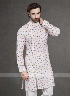 Off White Printed Cotton Kurta