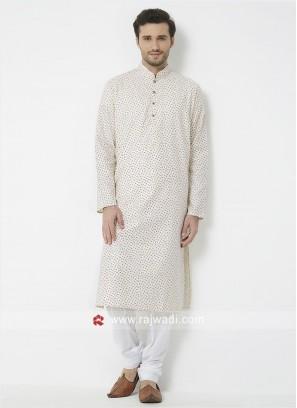Off White Printed Kurta Pajama