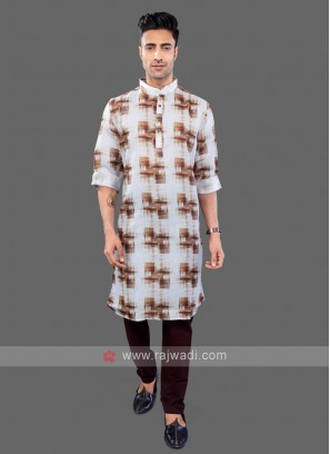 Off-White Printed Kurta Pajama