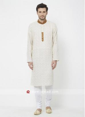 Off white Printed Mens Kurta Pajama