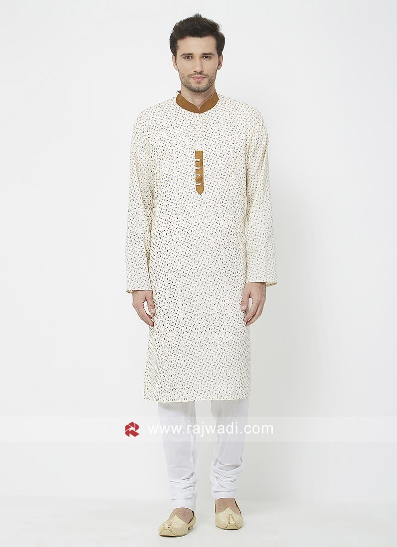 Off white Printed Mens Kurta Pajama