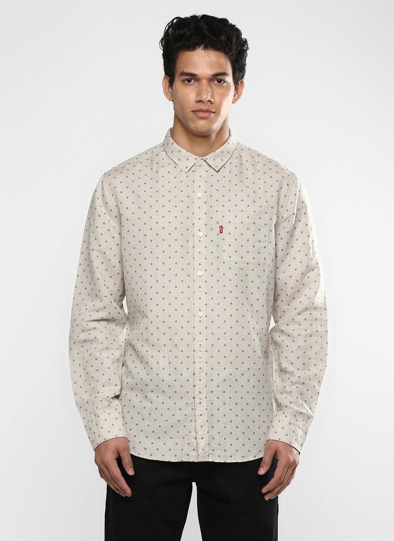 Levi's Off White Printed Slim Fit Shirt
