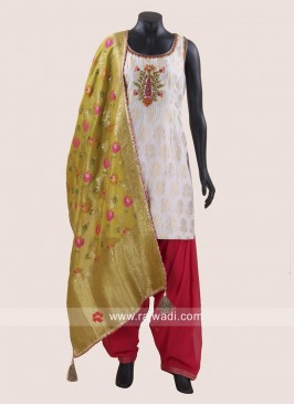 Off White Readymade Patiala Suit