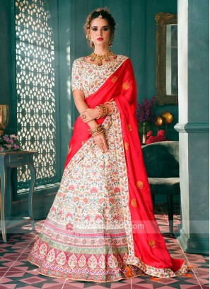 Off White & Red Lehenga Choli