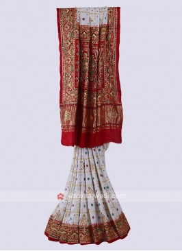 Off White & Red Panetar Style Saree