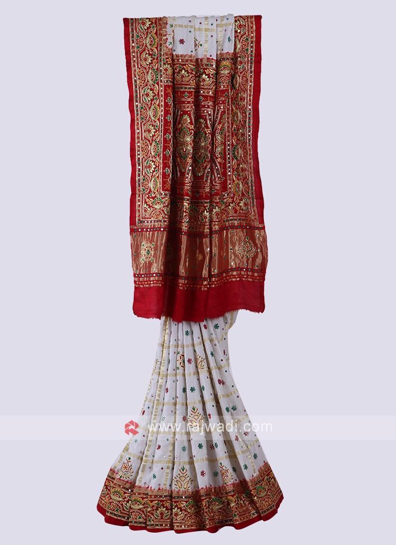 Off White & Red Panetar Style Saree