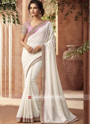 Off White Saree with Light Pink Blouse