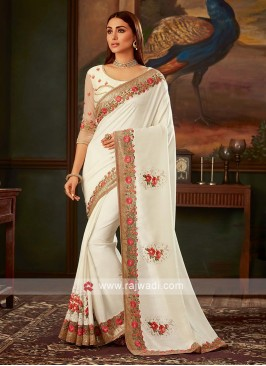 Off-white saree with matching blouse