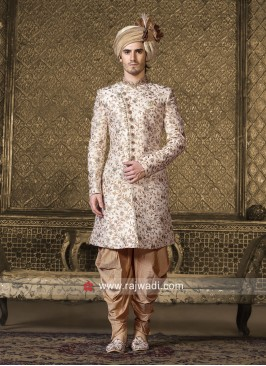 Off White Silk Indo Western For Wedding