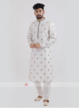 Off-White Silk Kurta Pajama.