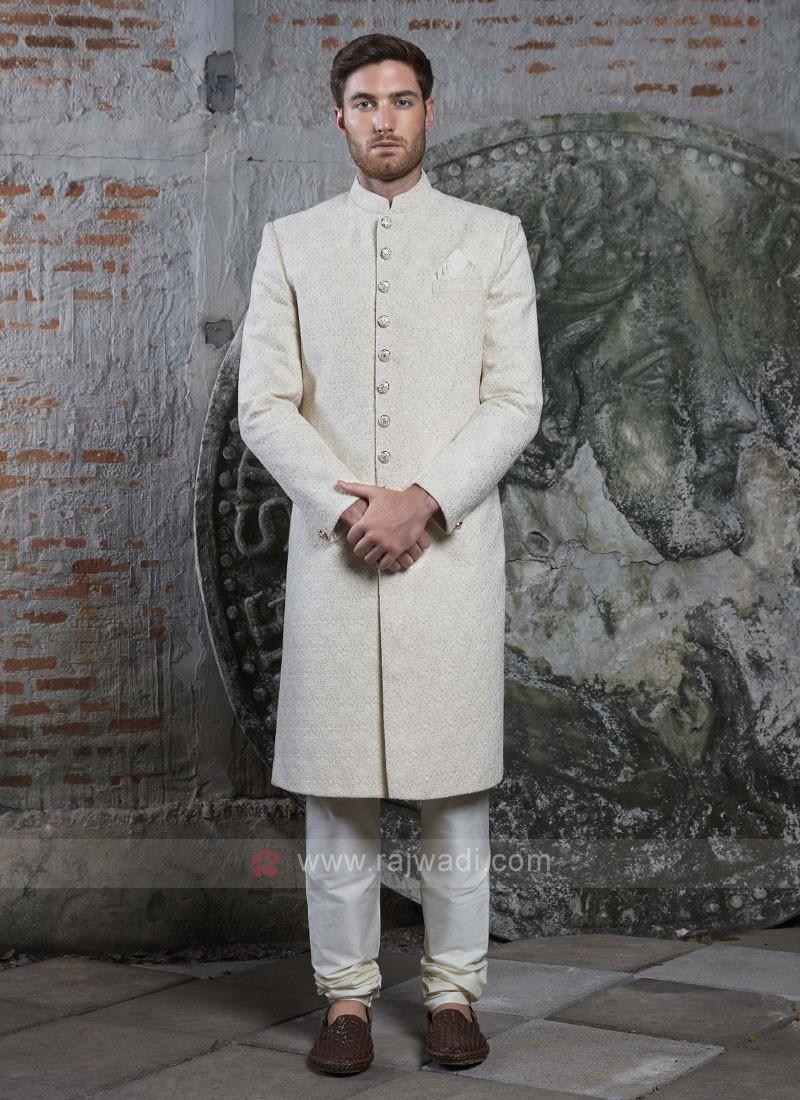 Off White Silk Sherwani