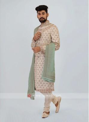 Off-White Silk Sherwani