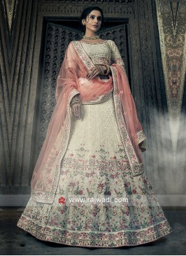 Off White Thread Work Lehenga Choli