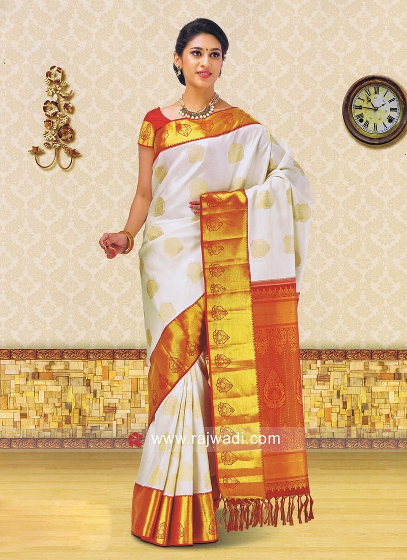 Off White Zari Weaved Saree