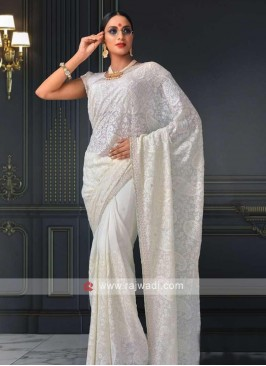 off white viscose chikankari saree