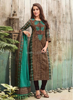 Office Wear Cotton Straight Churidar Suit