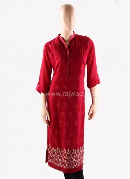 Office Wear Embroidered Kurti