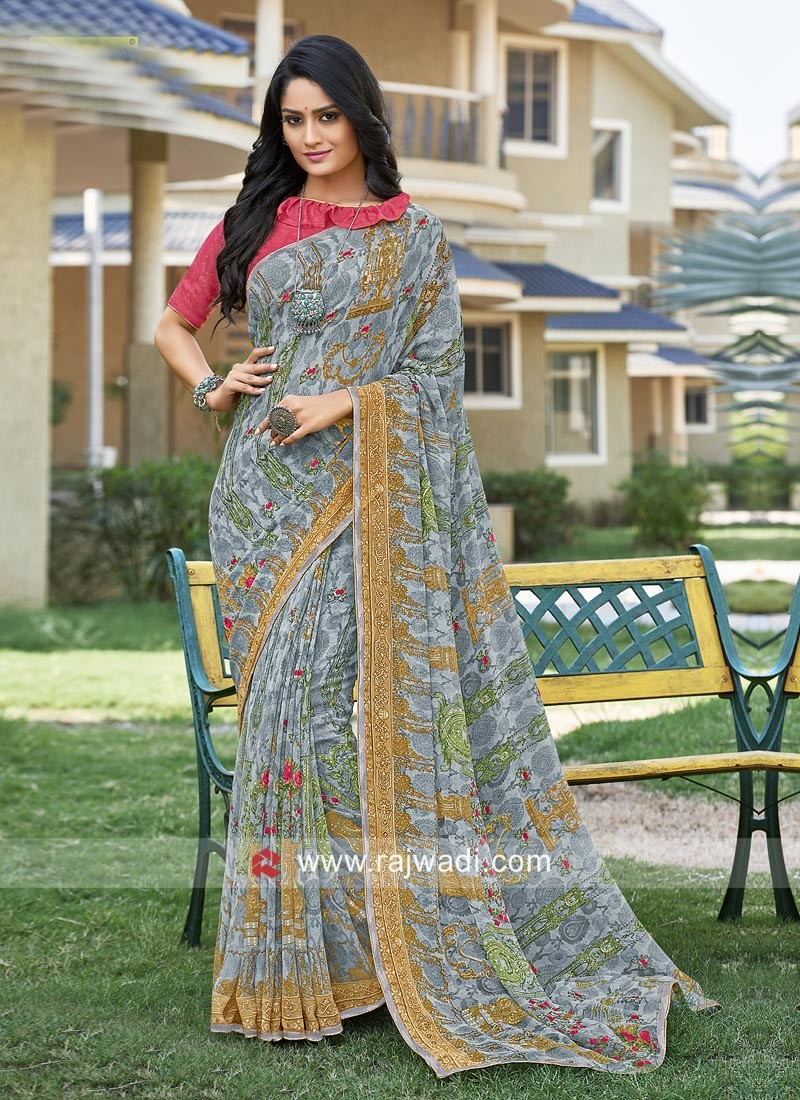 Office Wear Printed Saree with Blouse