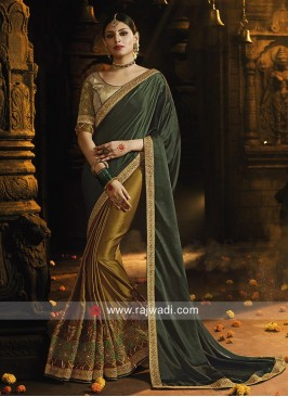 Olive and Dark Green Designer Half n Half Saree