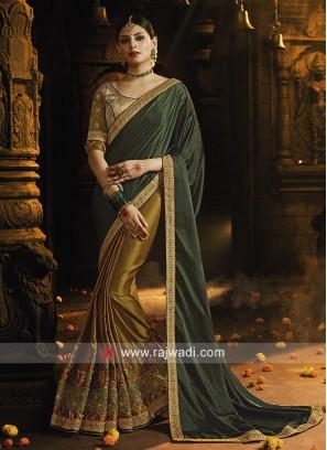 Olive and Dark Green Designer Half n Half Saree