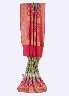 Olive and hot pink chiffon saree