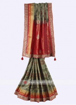 Olive and red color pure silk saree