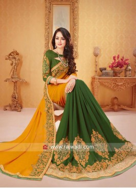 Olive and Yellow Half Saree