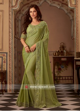 Olive Border Work Saree with Blouse