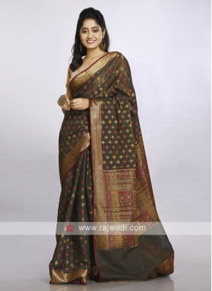 Dark mehandi green colour casual cotton soft saree