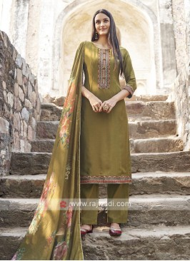 Olive Color Embroidery Suit