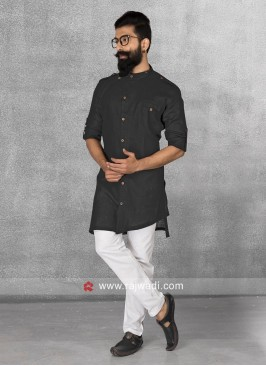 Black Color Pathani Set In Linen Fabric