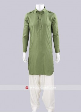 Olive Color Pathani Set In Voile Fabric