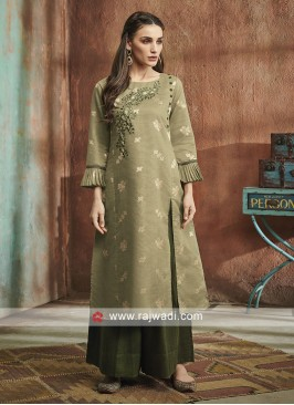 Olive Cotton Silk Palazzo Suit