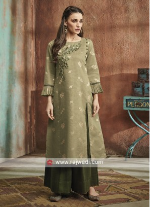 Olive Cotton Silk Palazzo Suit