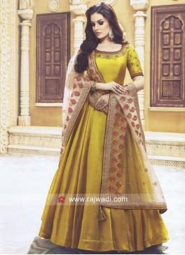 Olive Designer Anarkali Salwar Kameez