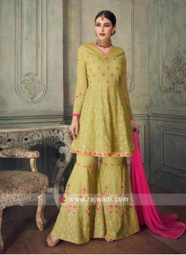 Olive Embroidered Gharara Suit