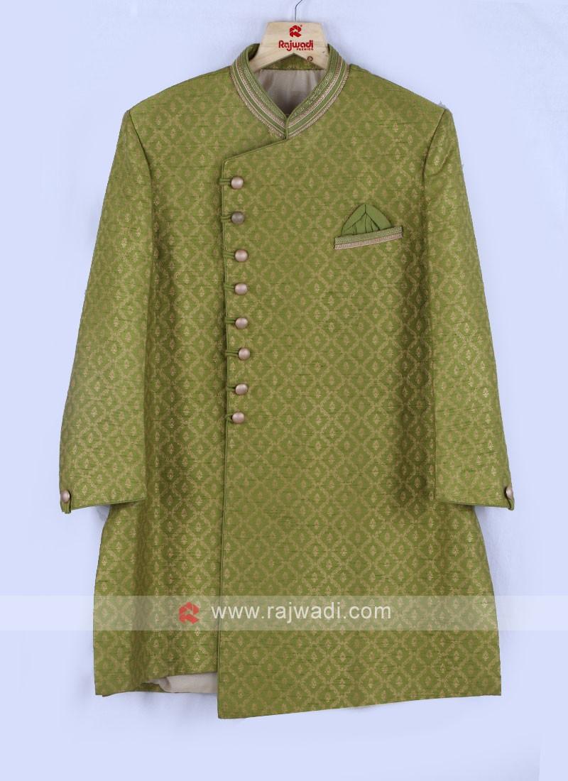 Olive Green Mens Indo-Western