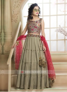 Olive & Pink Color Choli Suit