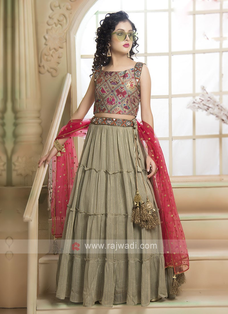 Olive & Pink Color Choli Suit