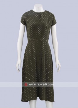 Olive Polka Dots Short Midi Dress