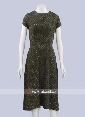 Olive Polka Dots Short Midi Dress
