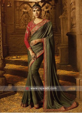 Olive Saree with Red Blouse