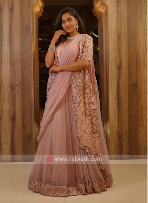 Onion Color Net Choli Suit
