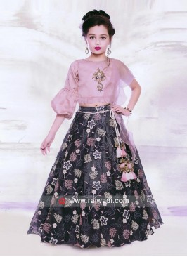 Onion Pink and Dark Grey Choli Suit.