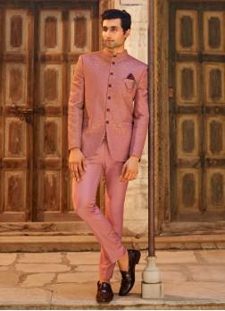 Onion Pink Color Jodhpuri Suit