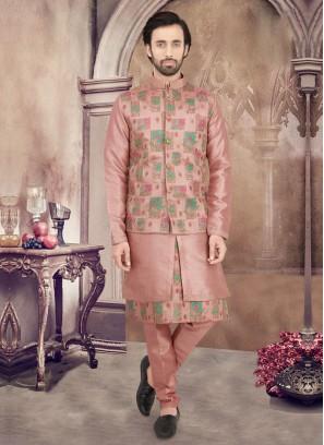 Onion Pink Nehru Jacket Suit