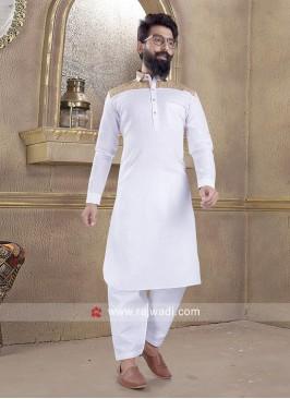 Stylish White Color Pathani Suit