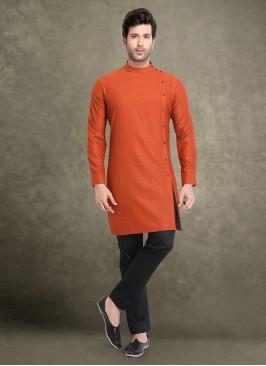 Orange And Black Color Kurta Pajama